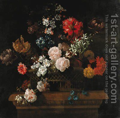 Roses, convolvulus, spider lilies, parrot tulips, a paeony and other flowers in a basket on a pedestal by Jean-Baptiste Monnoyer - Reproduction Oil Painting