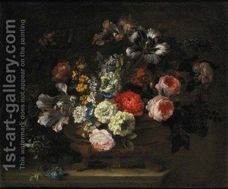 Roses, tulips, lilies, chrysanthemums, lilac, gentians and yellow sage in an urn on a marble ledge by Jean-Baptiste Monnoyer - Reproduction Oil Painting