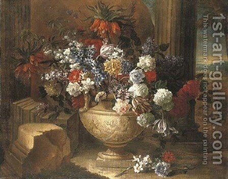 Tulips, lilacs, dahlias and other flowers in a sculpted vase, before a column, a landscape beyond by Jean-Baptiste Monnoyer - Reproduction Oil Painting