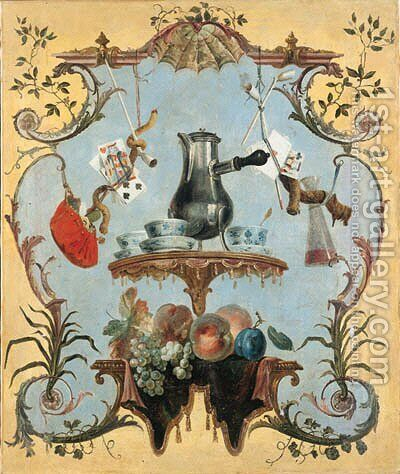 A still life with silver coffee pot by Jean-Baptiste Oudry - Reproduction Oil Painting