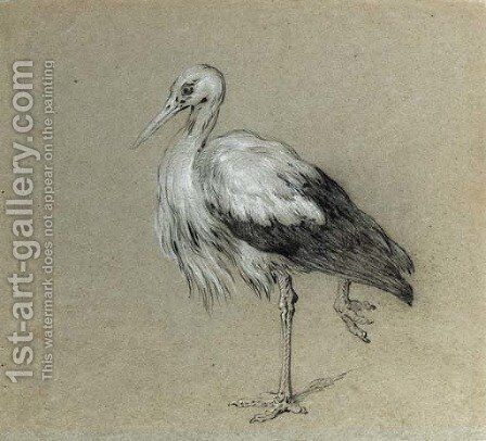 A stork standing on one leg by Jean-Baptiste Oudry - Reproduction Oil Painting
