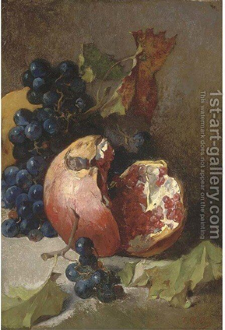 A pomegranate and a bunch of grapes on a ledge by Jean-Baptiste Robie - Reproduction Oil Painting
