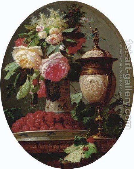 Still Life of Flowers with Raspberries and an Urn on a Table in a painted Oval by Jean-Baptiste Robie - Reproduction Oil Painting