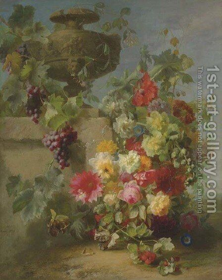 Still Life of Roses, Morning Glories, Chrysanthemums, Forget-me-nots, Grapes and Raspberries by a decorative stone Urn on a Ledge in a Landscape by Jean-Baptiste Robie - Reproduction Oil Painting