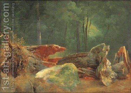 A wooded landscape with a blasted tree by a rock by Jean-Baptiste-Adolphe Gibert - Reproduction Oil Painting