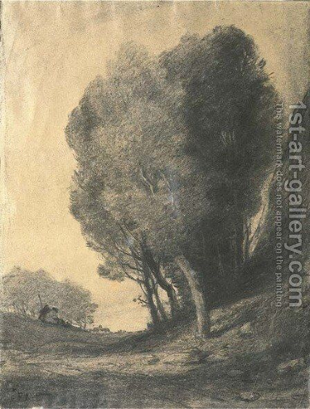 A landscape with figures by trees by Jean-Baptiste-Camille Corot - Reproduction Oil Painting