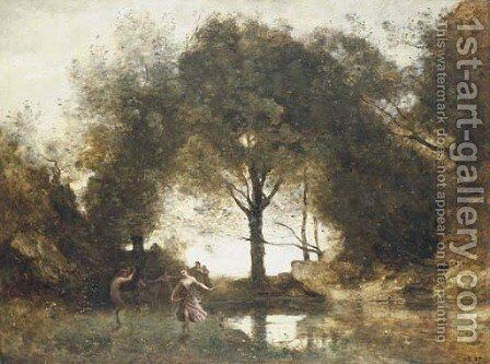 Nymphes et faunes by Jean-Baptiste-Camille Corot - Reproduction Oil Painting