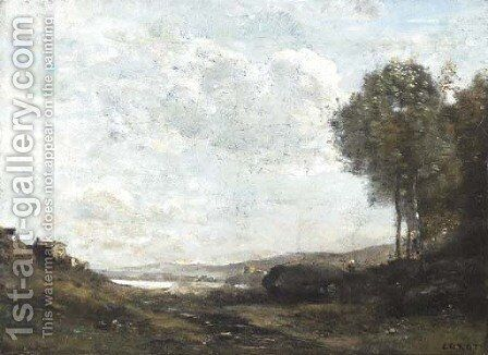 Paysage au Bord du Lac by Jean-Baptiste-Camille Corot - Reproduction Oil Painting