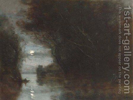 Paysage au clair de lune by Jean-Baptiste-Camille Corot - Reproduction Oil Painting