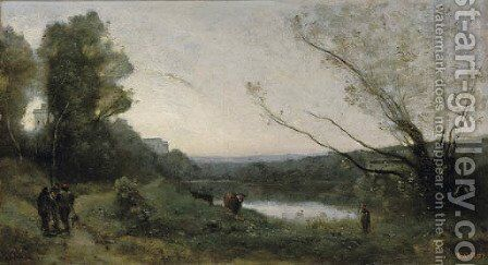 Rives d'un etang by Jean-Baptiste-Camille Corot - Reproduction Oil Painting