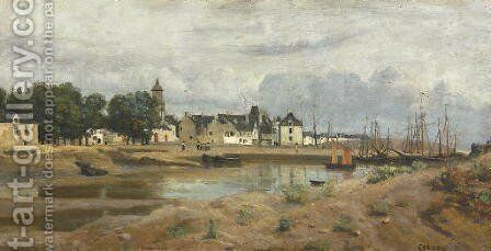 Un port de mer en Bretagne by Jean-Baptiste-Camille Corot - Reproduction Oil Painting