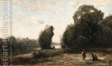 Prairie au bord d'une rivire by Jean-Baptiste-Camille Corot - Reproduction Oil Painting
