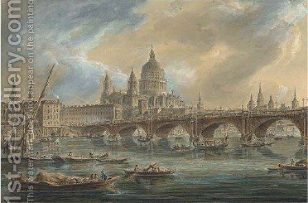 Saint Paul's Cathedral and Blackfriars Bridge seen from the Thames by Jean Baptiste Genillion - Reproduction Oil Painting