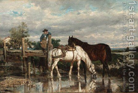 Horses watering at a stream by Jean-Baptiste-Louis Guy - Reproduction Oil Painting