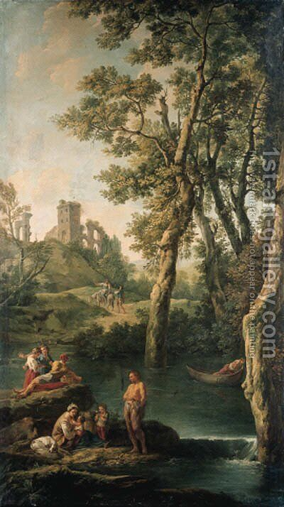 A river landscape with a peasant family, a man in a boat, fisherfolk and travellers by Jean-Baptiste-Marie Pierre - Reproduction Oil Painting