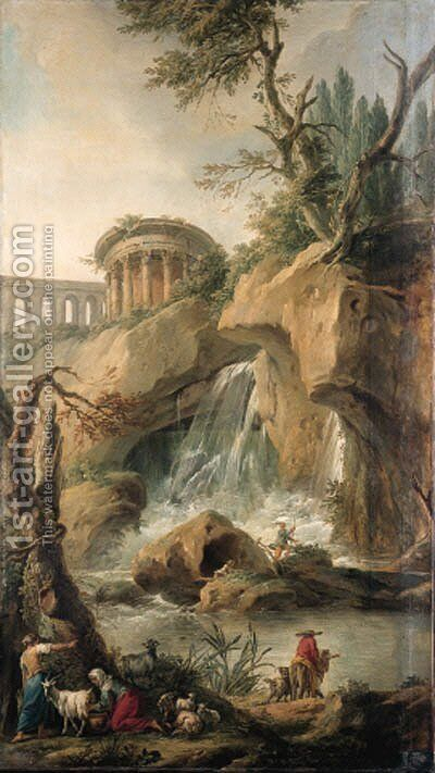 A view of the Falls of Tivoli with a peasant milking a goat, a traveller on a mule with a dog and  fishermen on a rock by Jean-Baptiste-Marie Pierre - Reproduction Oil Painting