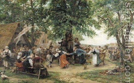 The village festival by Jean-Louis-Ernest Meissonier - Reproduction Oil Painting