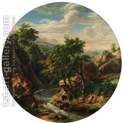 A philosopher and a bear in a mountainous river landscape by Jean-Charles Tardieu - Reproduction Oil Painting