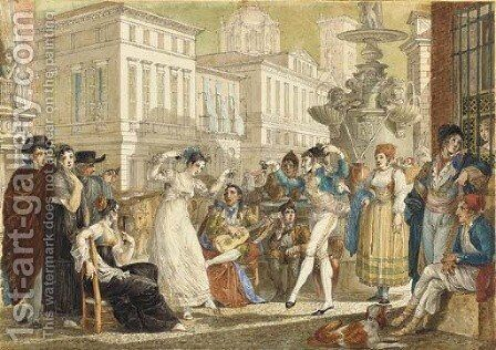 The Plaza de la Provincia, Madrid, with a crowd watching an elegant couple dance by Jean-Demosthene Dugourc - Reproduction Oil Painting