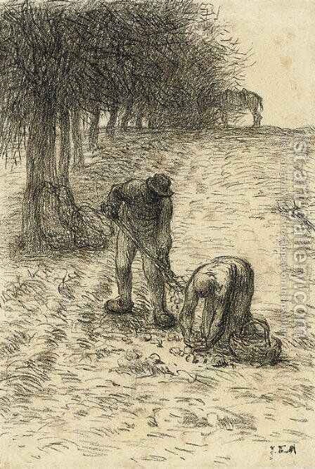 Peasants digging for potatoes, a donkey seen beyond by Jean-Francois Millet - Reproduction Oil Painting