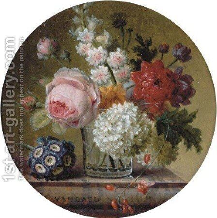 Cabbage rose, marigold, hyacinth, poppy anemones, opium poppy, snowball and scarlet runner bean in a glass beaker on a marble ledge by Jan Frans Van Dael - Reproduction Oil Painting