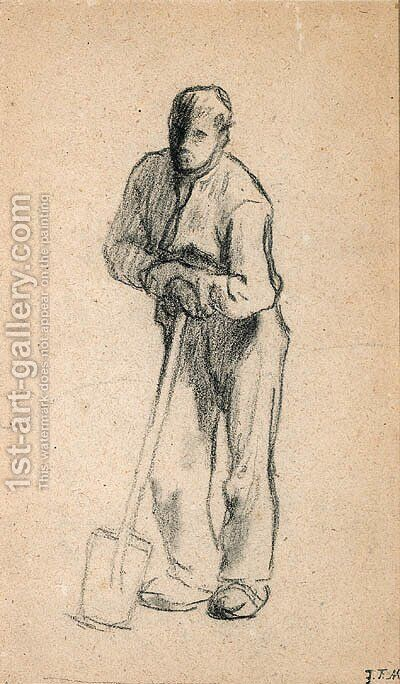 Paysan appuy sur sa bche (Peasant Leaning on a Shovel) by Jean-Francois Millet - Reproduction Oil Painting