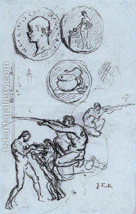 Three studies for antique coins, hunters and a man with a lion by Jean-Francois Millet - Reproduction Oil Painting