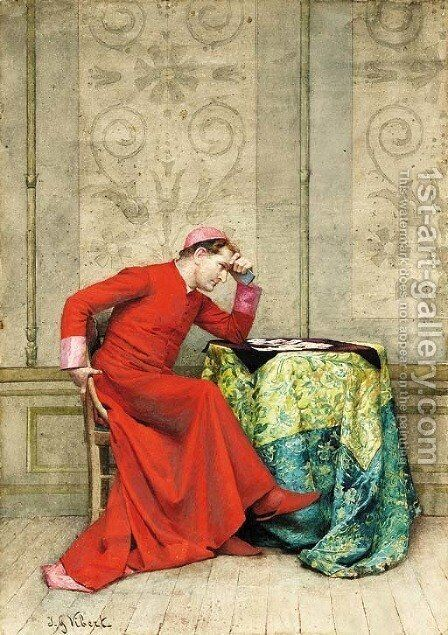 The next move by Jehan Georges Vibert - Reproduction Oil Painting