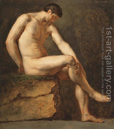 A seated male nude by Jean-Germain Drouais - Reproduction Oil Painting