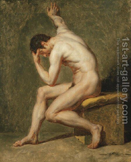 A seated male nude in contrapposto by Jean-Germain Drouais - Reproduction Oil Painting