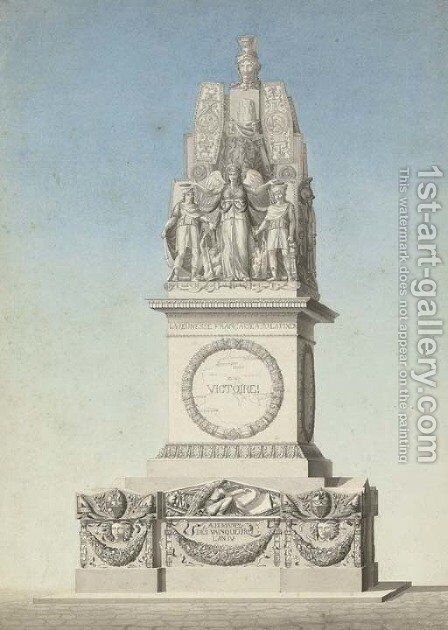 Design for a victory monument commemorating the dead of the French Republican Wars by Jean Guillaume Moitte - Reproduction Oil Painting