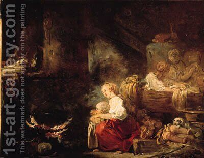 An interior of a barn with a woman and a child by a cauldron, washerwomen nearby by Jean-Honore Fragonard - Reproduction Oil Painting