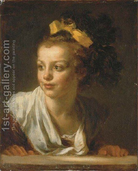 A young girl leaning on a window ledge by Jean-Honore Fragonard - Reproduction Oil Painting