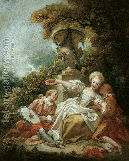 La coquette fixee ('The Fascinated Coquette') by Jean-Honore Fragonard - Reproduction Oil Painting
