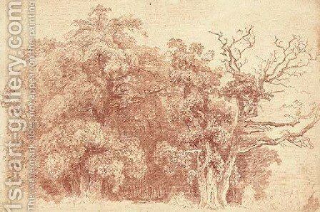 A study of trees at the edge of wood, with figures resting in the shade by Jean-Honore Fragonard - Reproduction Oil Painting