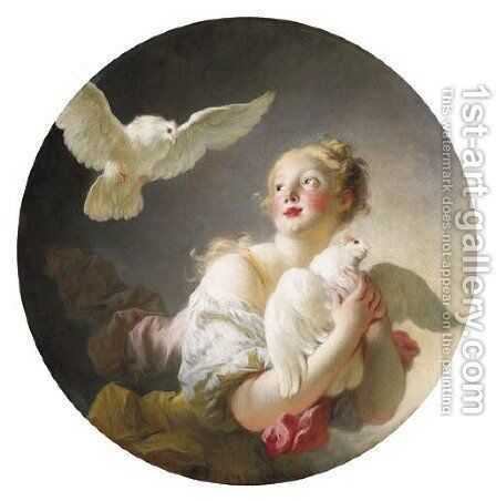 Girl holding a dove (said to be a Portrait of Marie-Catherine Colombe) by Jean-Honore Fragonard - Reproduction Oil Painting