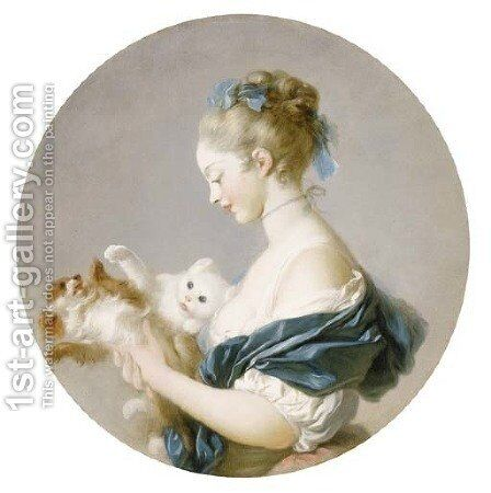 Girl playing with a dog and a cat (said to be a Portrait of Marie-Madeleine Colombe) by Jean-Honore Fragonard - Reproduction Oil Painting