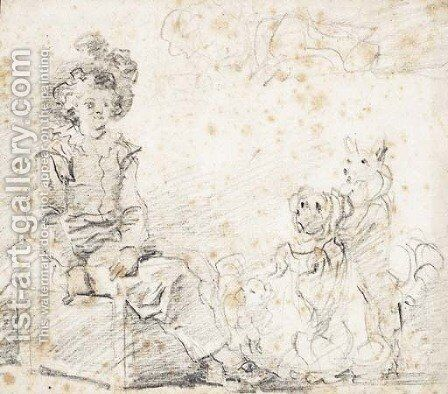 Three dogs standing before a boy seated on a box by Jean-Honore Fragonard - Reproduction Oil Painting