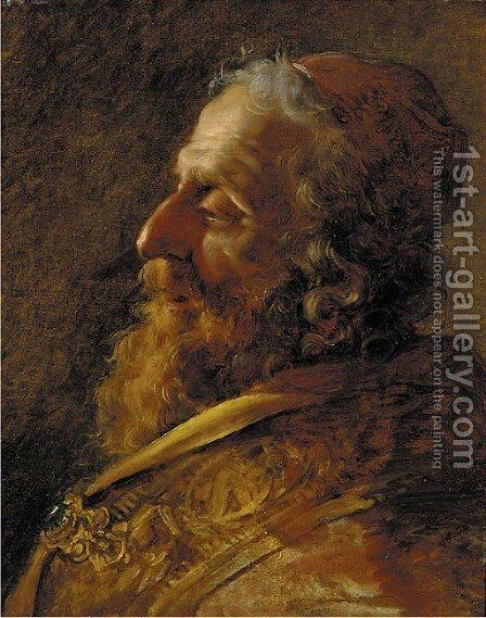 Study for the head of a Rabbi, bust-length, in profile, in a red robe with a jewelled clasp by Hugues Taraval - Reproduction Oil Painting