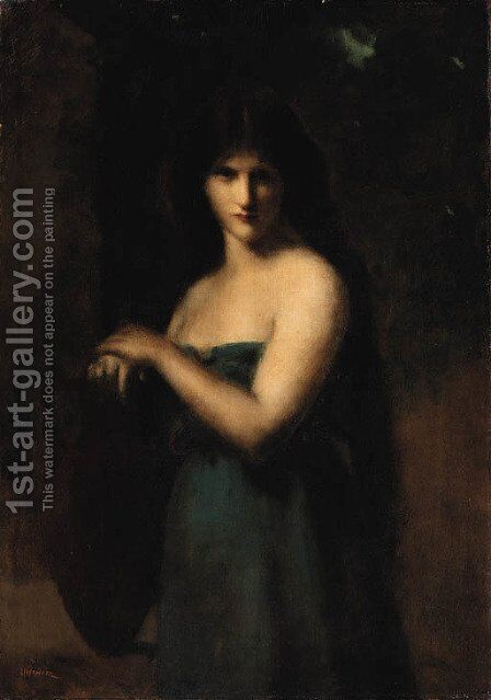At the fountain by Jean-Jacques Henner - Reproduction Oil Painting