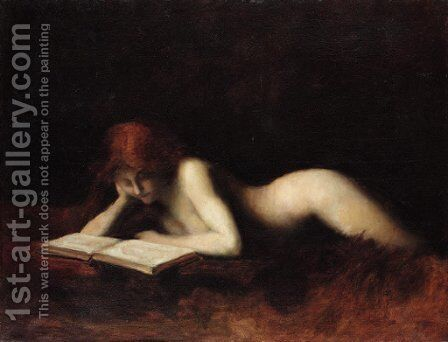 Reclining Nude Woman Reading a Book by Jean-Jacques Henner - Reproduction Oil Painting