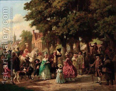 A village festival by Jan Jacob Zuidema Broos - Reproduction Oil Painting