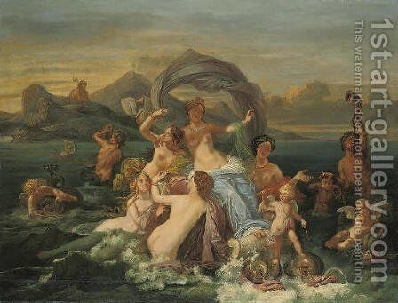 The Triumph of Amphitrite by Jean-Jacques Francois Monanteuil - Reproduction Oil Painting