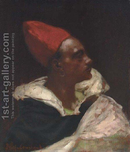 Profile of a Nubian Man by Benjamin Jean Joseph Constant - Reproduction Oil Painting