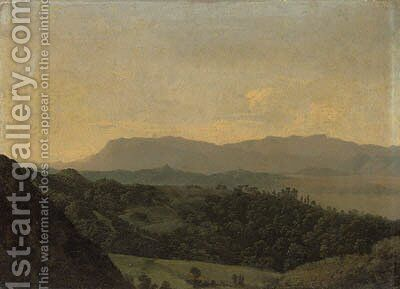 An extensive mountainous landscape by Jean-Joseph-Xavier Bidauld - Reproduction Oil Painting