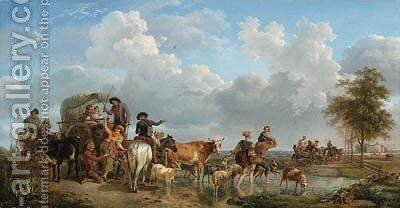 Peasants with Carts and Cattle crossing a Ford, a castle in an extensive landscape beyond by Jean-Louis Demarne - Reproduction Oil Painting
