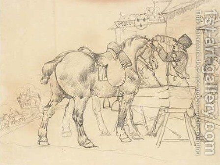A postal conductor attending to two saddled horses in front of a postal relay station by Theodore Gericault - Reproduction Oil Painting