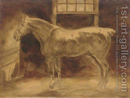 A horse in a stable by Theodore Gericault - Reproduction Oil Painting