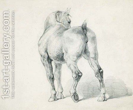 A carriage horse, seen from behind by Theodore Gericault - Reproduction Oil Painting
