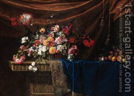 Tulips, roses, lilies, carnations, morning glory and other flowers in a basket, plums on a branch with a snail and peaches on blue velvet by Jean Picart - Reproduction Oil Painting
